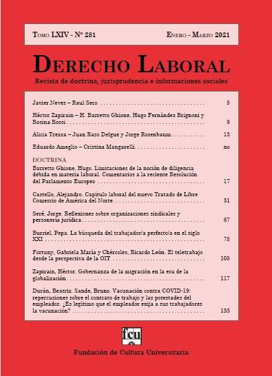 Tapa de Derecho Laboral. Revista de doctrina, jurisprudencia e informaciones sociales
