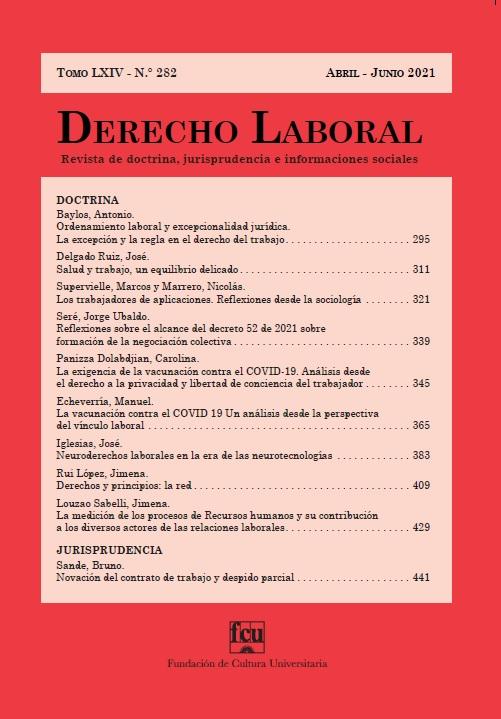 Tapa de Derecho Laboral. Revista de doctrina, jurisprudencia e informaciones sociales n.° 282